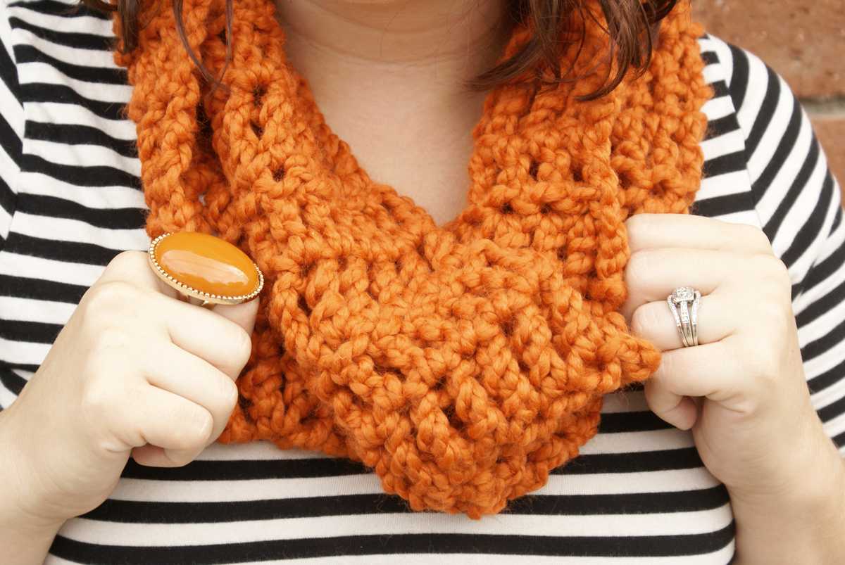 {Get cozy with our crocheted infinity cowls [on sale]}