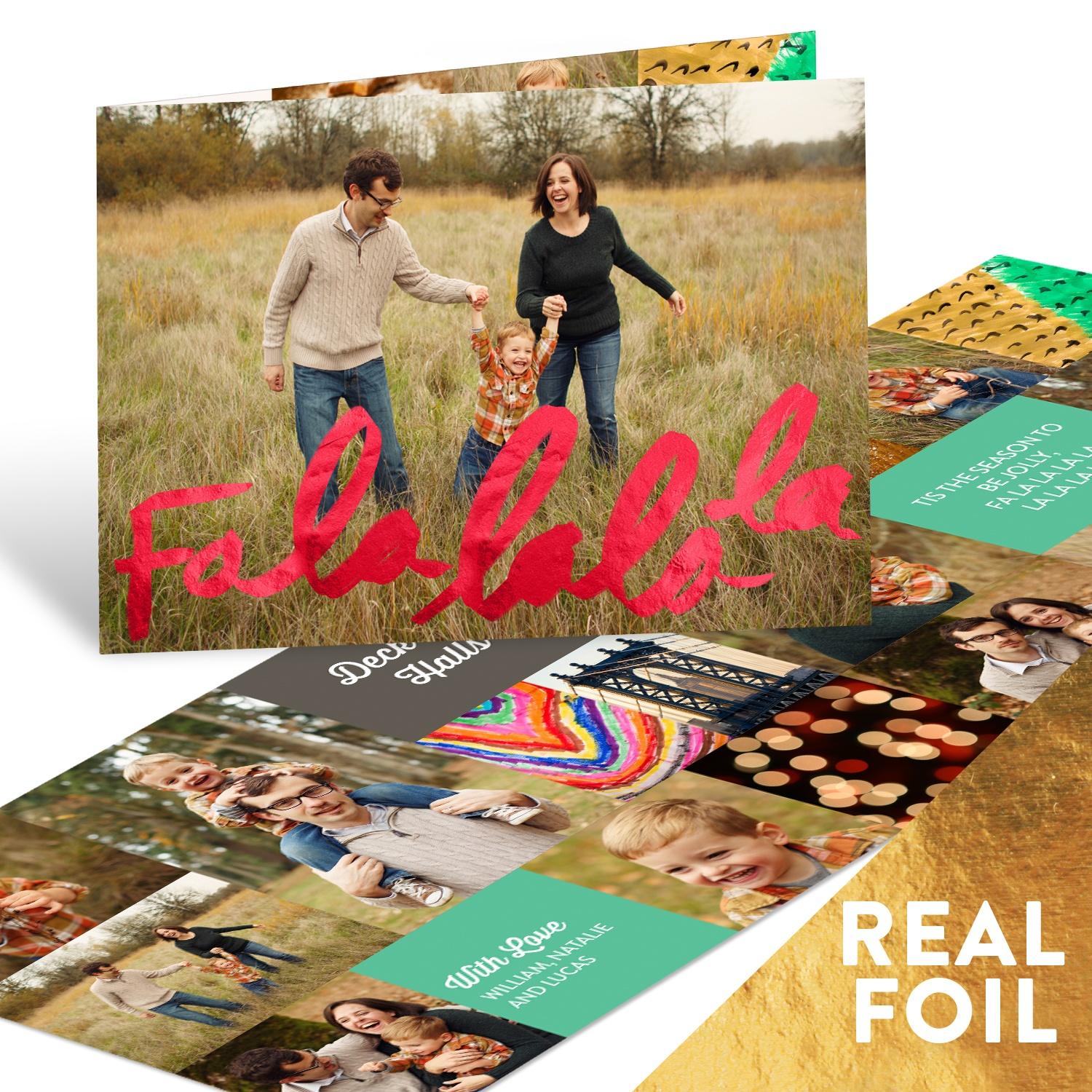 Fa La La Foil Holiday Photo Cards